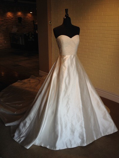 Pronovias Ivory Satin Palmer Formal Dress Size 10 (M)