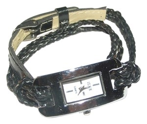 Other BOGO Braided Black Leather Double Wrap Bracelet Watch Free Shipping