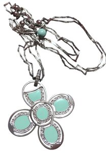 Roberto Coin ROBERTO COIN - Solid 18k 18kt White Gold - Blue Enamel FLOWER Diamond Pendant and 18