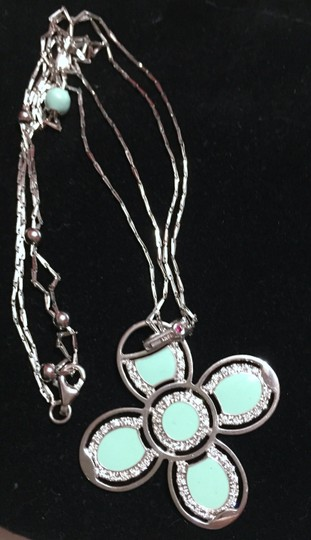 "Roberto Coin ROBERTO COIN - Solid 18k 18kt White Gold - Blue Enamel FLOWER Diamond Pendant and 18"" Chain - RETAIL = $2500"