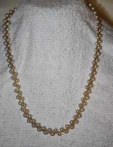 Pearl (White) Faux Seed and Delicate Accent Gold Necklace
