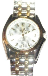 Mens Two Tone Silver & Gold Stainless Quartz Watch Free Shipping