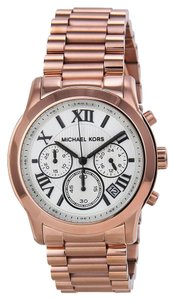 Michael Kors Rose Gold Stainless Steel Ladies Watch with White Dial