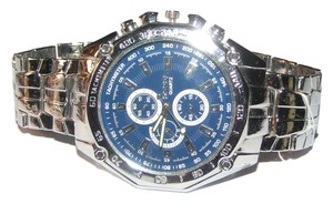 Stainless Steel Silver Men's Watch Blue Face Free Shipping