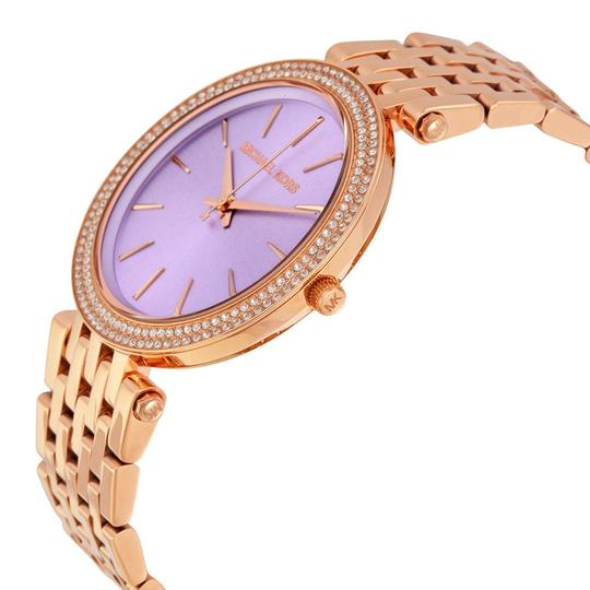 Michael Kors Purple Dial with Crystals Stainless Steel Rose Gold Ladies Watch