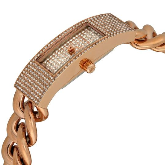 Michael Kors Crystal Pave Rectangular Slim Dial Rose Gold Chain Watch