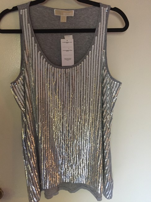 Michael Kors Sparkle Holiday Fun Party Top Silver Grey