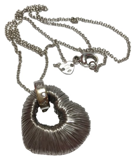 """Pasquale Bruni PASQUALE BRUNI - AMORE COLLECTION - Solid 18k 18kt Blackened White Gold Wire-wrapped HEART Pendant and 20"""" Chain - RETAIL = $3200"""