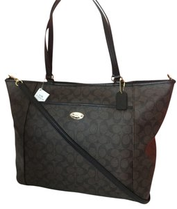 Coach Signature Black Large Tote in black /brown