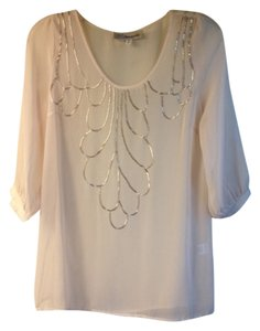 Paraella Ballerina Beaded Embellished Sheer Top Blush