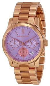 Michael Kors Purple Dial Rose Gold Classic Casual Ladies Watch