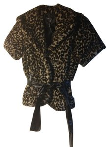 Finesse Faux Fu Faux Fur Leopard Belted New York Leopard print Jacket