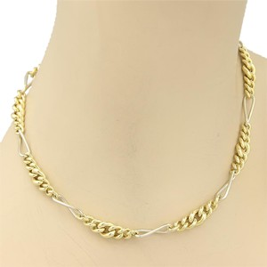 Pomellato 15476 - Vintage Pomellato 18k Two Tone Gold Graduated Curb Figaro Link Chain Necklace