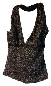 Bridal Styles Boutique Sparkle Halter Party Top Black and gold
