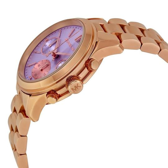 Michael Kors Purple Dial Classic casual Rose Gold Stainless Steel designer ladies Watch