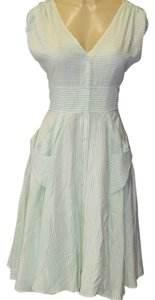 Calvin Klein short dress white/ green stripes on Tradesy