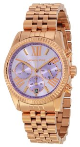 Michael Kors Purple Dial Rose Gold Casual Ladies watch Stainless Steel