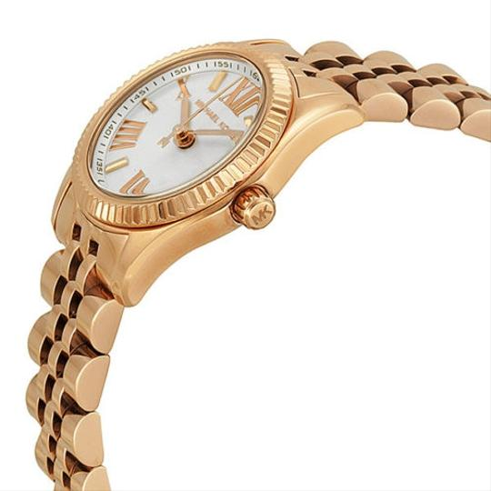 Michael Kors White Dial Small Round Rose Gold Stainless Steel Ladies Watch