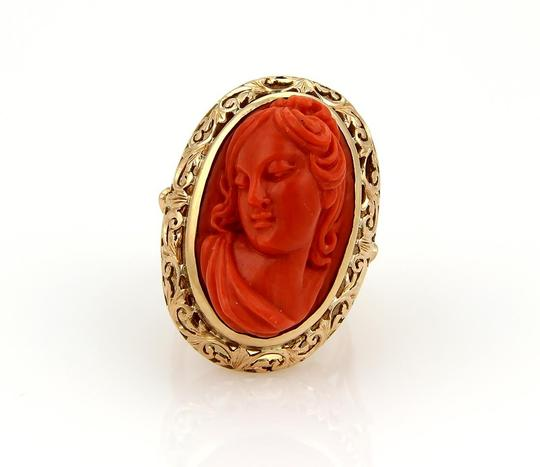 Other Deep Carved Fire Coral Cameo Woman 18k Gold Ring Image 1