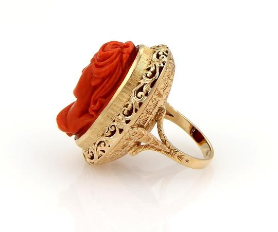 Other Deep Carved Fire Coral Cameo Woman 18k Gold Ring Image 2