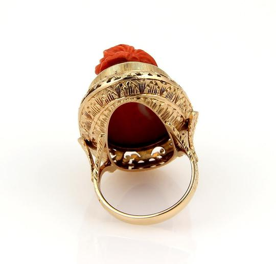 Other Deep Carved Fire Coral Cameo Woman 18k Gold Ring Image 3