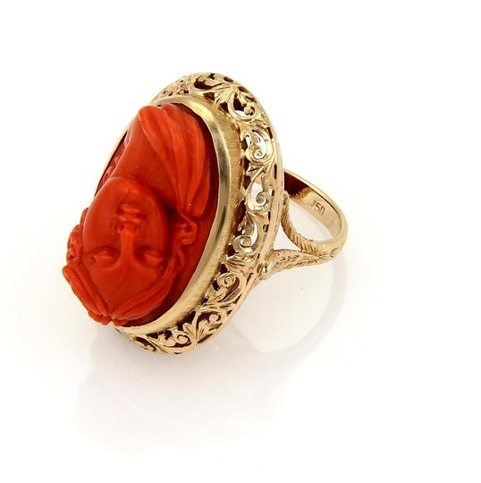 Other Deep Carved Fire Coral Cameo Woman 18k Gold Ring Image 4