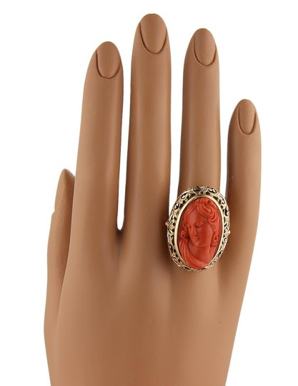 Other Deep Carved Fire Coral Cameo Woman 18k Gold Ring Image 5