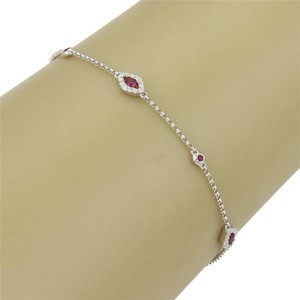 Good Luck Eye Bracelet 15462 - Elegant Good Luck Eye Bracelet With Rubies & Diamonds in 18k White Gold