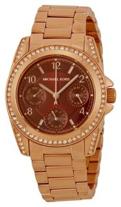 Michael Kors Red Dial Crystal Bezel Rose Gold Stainless Steel Ladies Watch