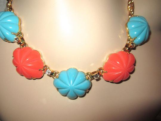 Gerard Yosca Gerard Yosca Turquoise & Coral Cabochon Necklace Gold Plated Signed