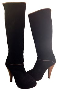 Madison Harding Tall Leather Suede Detailed Stacked Platform Zipper Tall Winter Designer Black Boots
