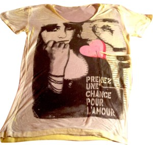 Vintage L'Amore T-Shirt T Shirt Very pale yellow/white w Pink Pocket/Black Etched Face