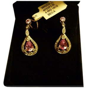 Other 14K White Gold, Pink Topaz & Diamond Dangle Earrings