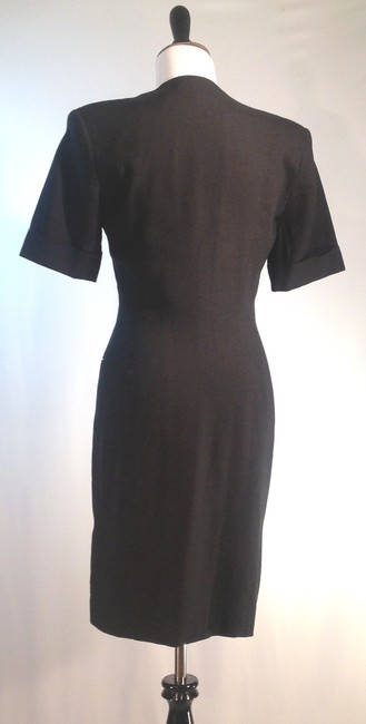 Tahari V-neck Wrapped Front Double Button Front Short Sleeves Dress