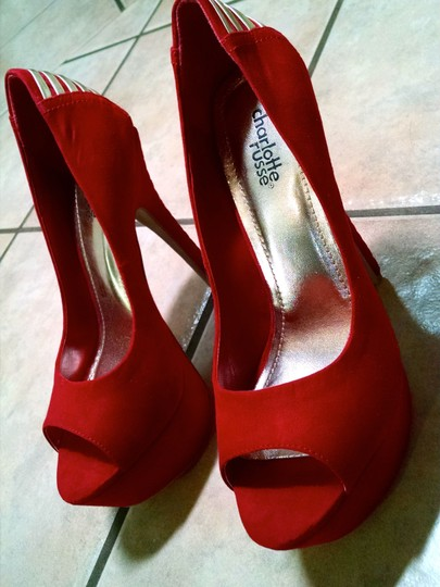 Charlotte Russe Stiletto Heels Size 8 6 Inch Paulette 76 P1640 red Pumps