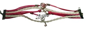 Other New Leather Infinity Bracelet Pink White Silver Heart Love Key J1184 Summersale