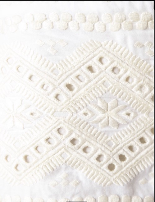 Tory Burch Eyelit Eyelet Lace Scalloped Creme Cream Beige Ivory Off Beach Summer Boat Cover-up Embroidered Detailed Veronique Dress Shorts White