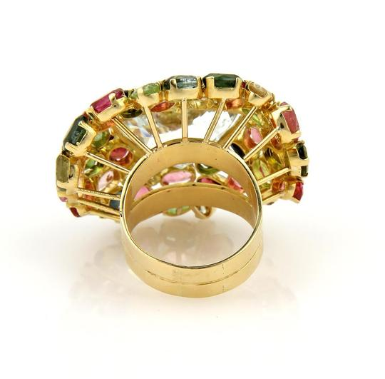Other 15477 - Estate 18k Yellow Gold & Aquamarine & Multi-Color Gemstones Confetti Large Cocktail Ring