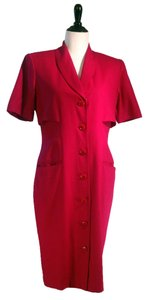 Oleg Cassini 100% Short Sleeve V-neck Wrap Button Front Caped Back Dress