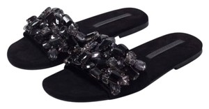 Zara Bling Jewel Slides Black Sandals