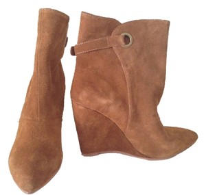 Madison Harding Leather Suede Wedge Designer City Fall Winter New York Brown Boots