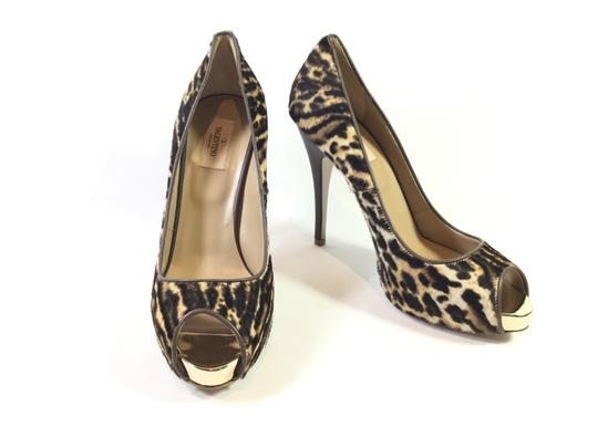 Valentino Calf-hair Platform Animal Print Pumps