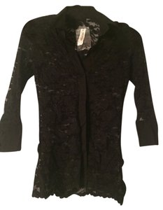 White House | Black Market Sheer Lace Button Details Top Black