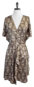BCBGMAXAZRIA short dress Print Short Sleeve Taupe on Tradesy