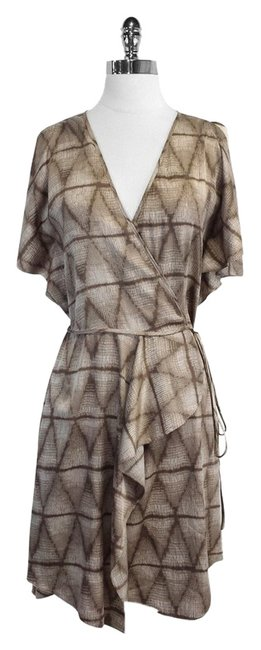 BCBGMAXAZRIA short dress Print Short Sleeve Taupe Wrap on Tradesy