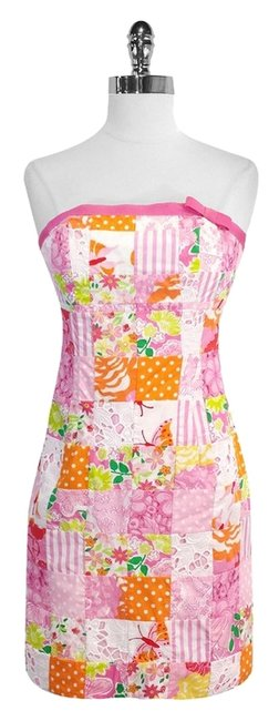 Lilly Pulitzer short dress Multi Color Patchwork Cotton Strapless on Tradesy