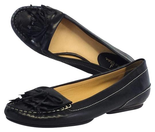 Cole Haan Black Leather Fringe Loafers Flats