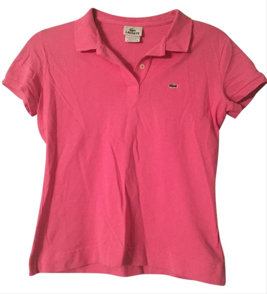 Lacoste pink polo tee shirt size 4 s tradesy for Lacoste size 4 polo shirt