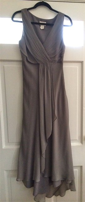 Item - Grey Silk Chiffon Evie Long 43115 Formal Bridesmaid/Mob Dress Size 4 (S)