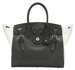Ralph Lauren Leather Soft Leather Satchel in black and white